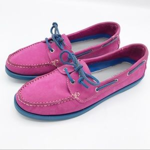 Tesori Pink and Blue Leather Loafers Size 9 M